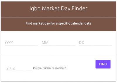 Igbo Calendar Widget and Igbo Market Day Finder